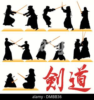 Kendo Fighters Silhouettes Set - Stock Photo