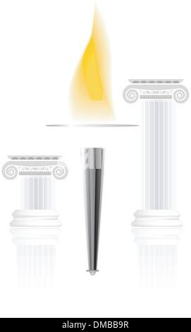 Olympic torch with flame - Stock Photo