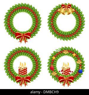 Holly wreath - Stock Photo