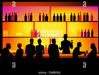 Bar with barkeeper - Stock Photo