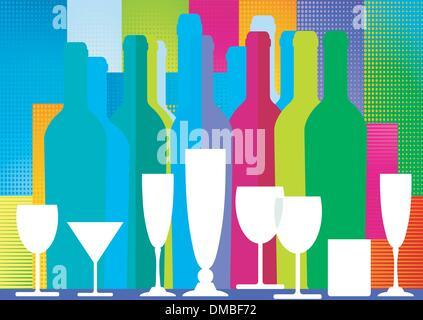 Bottles of spirits and liquor - Stock Photo