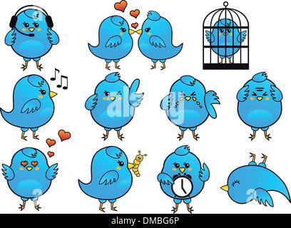 blue bird icons, vector - Stock Photo