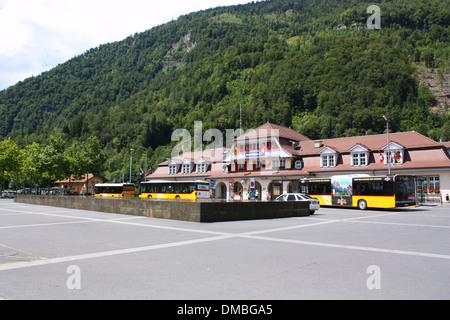 Interlaken Ost bus station in Switzerland - Stock Photo