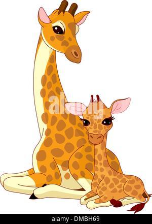Mother-giraffe and baby-giraffe - Stock Photo