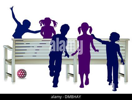 Happy children silhouettes - Stock Photo