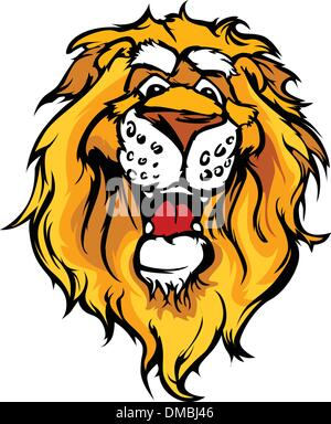 Smiling Cartoon Lion Mascot Vector Graphic - Stock Photo
