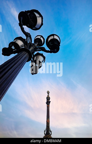 Columbus monument in Port Vell district, Barcelona, Catalonia, Spain. - Stock Photo