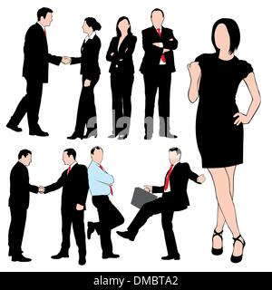 Business People Silhouettes Set isolated on white background - Stock Photo