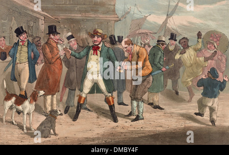 The Colonel electioneering. How to get a vote, or going fixed for the purpose - a man at center, assumed to be Davy - Stock Photo