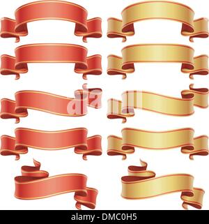 Red and golden banners set - Stock Photo