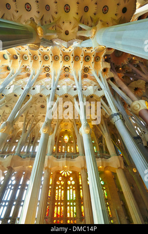 Interior of the Sagrada Familia Temple by Antoni Gaudi. Barcelona, Spain. - Stock Photo