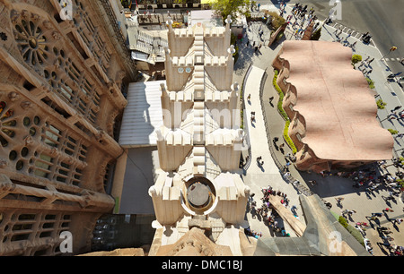 View from a spire at the Sagrada Familia Temple by Antoni Gaudi. Barcelona, Spain. - Stock Photo