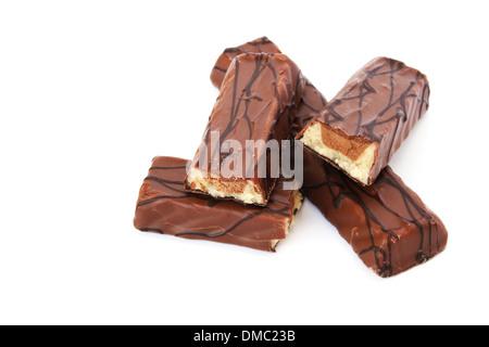 Chocolate bars isolated on white background. - Stock Photo