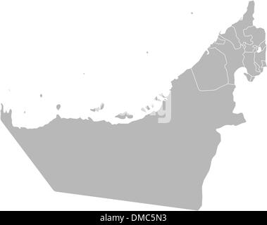 Map of the United Arab Emirates - Stock Photo