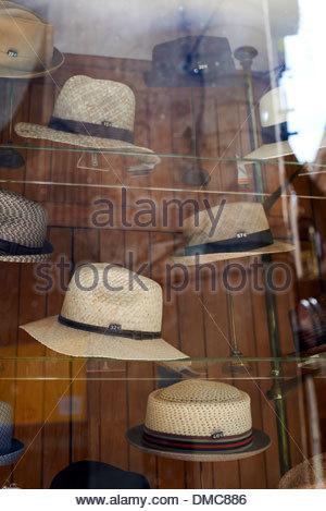 Panama hats in shop window in Barcelona in Catalunya in Spain in Europe - Stock Photo