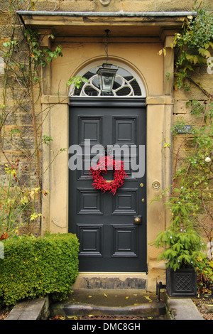 Christmas Wreath Hanging On Front Door O Traditional English Country Home Ashford In