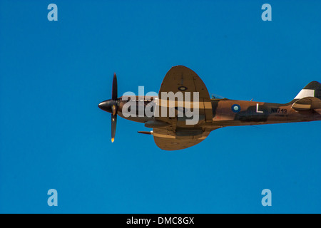 MK XIV Spitfire doing a flyby at the Wings over Camarillo Air Show In Camarillo California - Stock Photo