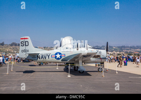 T-28 Trainer with bomb at The Wings over Camarillo Air Show In Camarillo California - Stock Photo