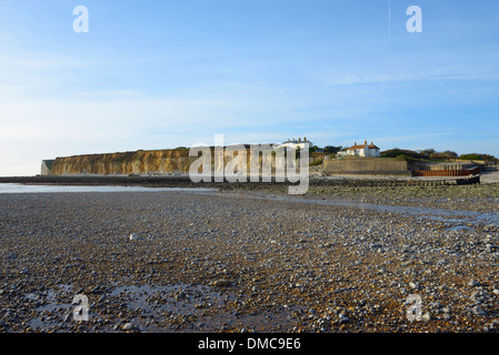 The cliffs of Seaford Head and Coastguard cottages at low tide at Cuckmere Haven, East Sussex, UK - Stock Photo