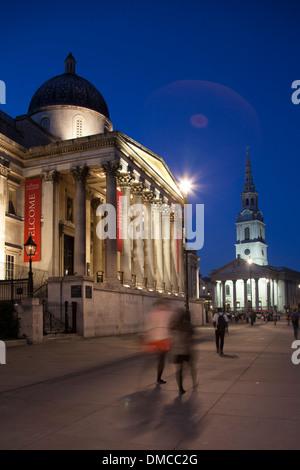 National Gallery and Trafalgar Square at night, London - Stock Photo