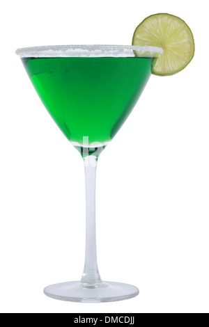 Green Margarita Cocktail served with a slice of a lime, isolated on a white background - Stock Photo