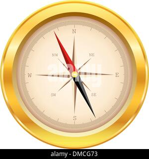gold compass - Stock Photo