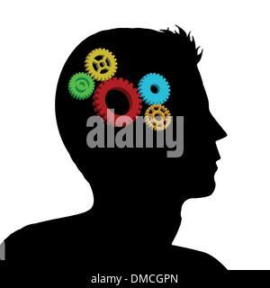 Cogs or gears in human head - Stock Photo