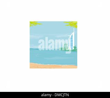 The Burj Al Arab Hotel in Dubai - Stock Photo