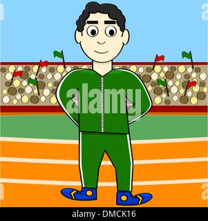 Cartoon athlete - Stock Photo