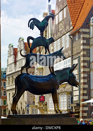 The Bremen Town Musicians at the city hall of Bremen, Bremen, Germany