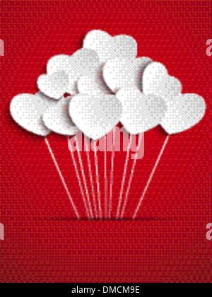 Valentines Day Heart Balloons on Red Background - Stock Photo