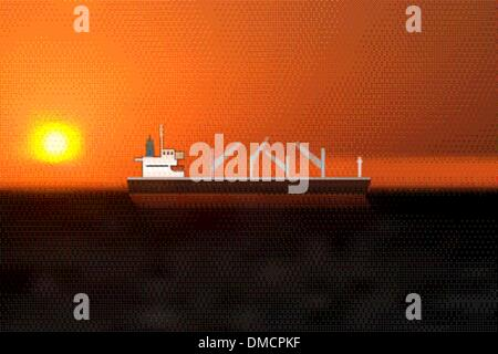 a vessel navigating on high seas under a sunset - Stock Photo
