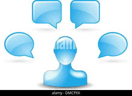 user comments by buddy icon in blue - Stock Photo