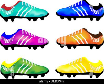 The Multicolor Illustration of Sport Football Boots - Stock Photo