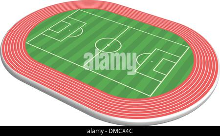 3 dimensional football field pitch - Stock Photo