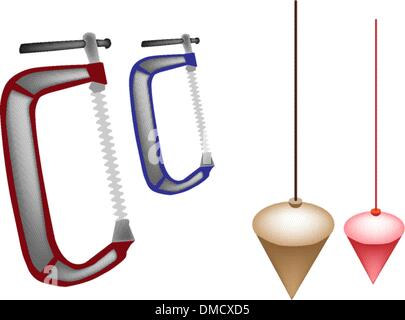 Colorful Illustration Set of Plumb Bob and Clamp - Stock Photo