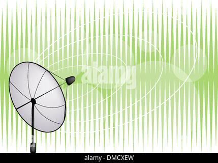 An Illustration of Satellite Dish on Green Background - Stock Photo