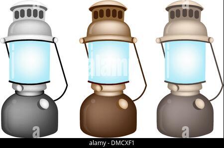 An Illustration Set of Old Kerosene Lamp - Stock Photo