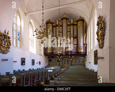Hus / Schnitger organ in the church St. Cosmae and Damiani, Hanseatic city of Stade, Lower Saxony, Germany - Stock Photo
