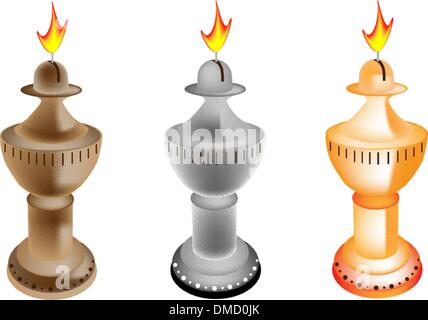 An Illustration Set of Old Fashioned Oil Lamp - Stock Photo