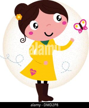 Retro spring cute Girl in yellow dress with butterfly - Stock Photo