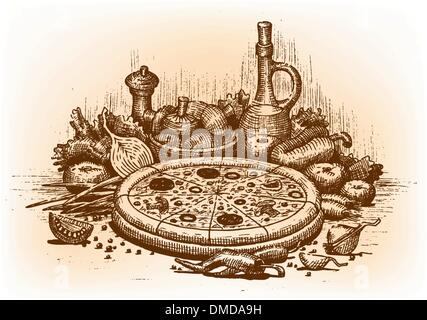 Pizza illustration drawn by hand - Stock Photo