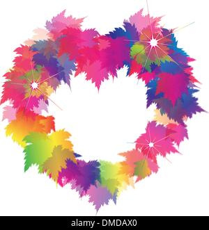 Beautiful Heart Shape From Colorful Maple Leaves - Stock Photo