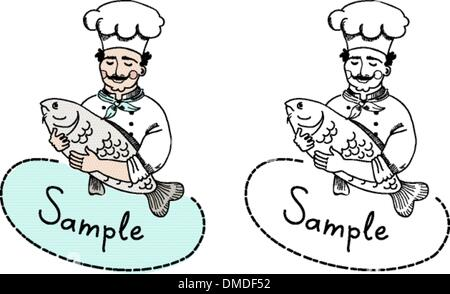Chef with fish logo template - Stock Photo
