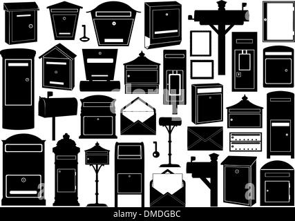 Set Of Different Mailboxes - Stock Photo