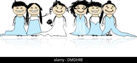 Bride with bridesmaids for your design - Stock Photo