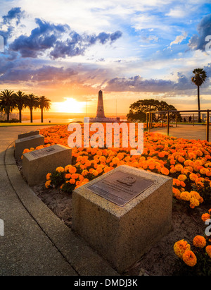 The war memorial, memorial plaques at sunrise in Kings Park, Perth, Western Australia - Stock Photo