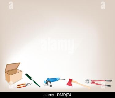 Collection of Various Craft Tools with Wooden Box - Stock Photo