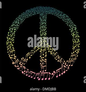 musical notes in peace symbol - Stock Photo