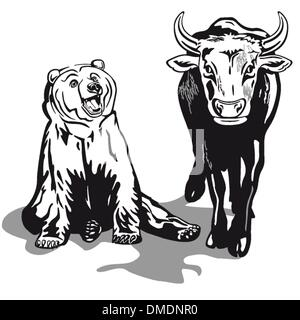 Bull and Bear - Stock Photo